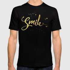 Gold Smile Quote  Black MEDIUM Mens Fitted Tee