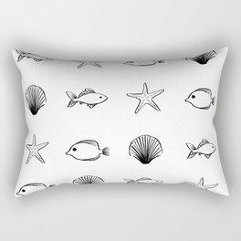 Sea Creatures Pattern - Black Rectangular Pillow