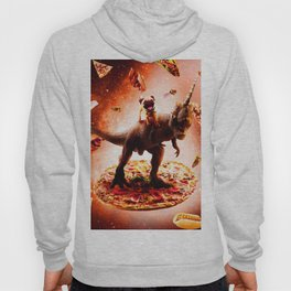 Outer Space Pug Riding Dinosaur Unicorn - Pizza Hoody