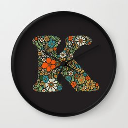 Hippie Floral Letter K Wall Clock