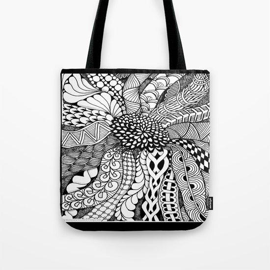 Zentangle Black and White Summer Sunflower  Tote Bag
