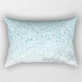 Turquoise Sea Mermaid Glitter Marble Rectangular Pillow