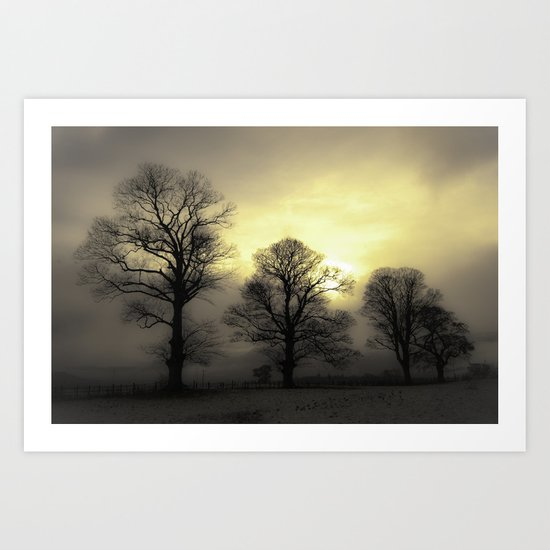 Golden Tree Landscape Art Print