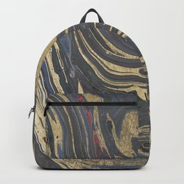Abstract navy blue gray coral gold marble Backpack