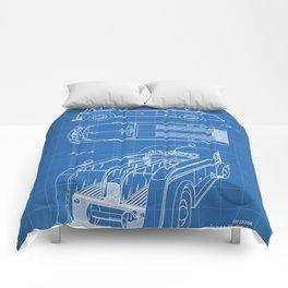 Fire Truck Patent - Fireman Art - Blueprint Comforters