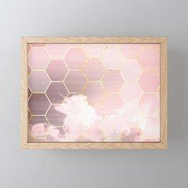 honeycomb clouds // pink & golden Framed Mini Art Print