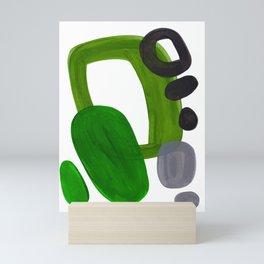 Mid Century Vintage 70's Design Abstract Minimalist Colorful Pop Art Olive Green Dark Green Grey Mini Art Print