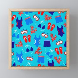 Summer Swim Party Pattern Framed Mini Art Print