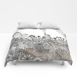 """Brown"" illustration Comforters"