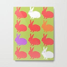 Mod Bunnies Metal Print
