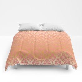 Modern chic coral faux gold floral elegant damask Comforters