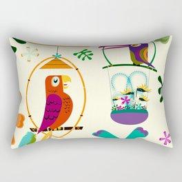 Vintage Modern Tiki Birds Rectangular Pillow