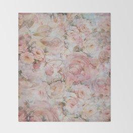 Vintage elegant blush pink collage floral typography Throw Blanket