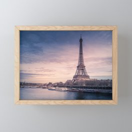Eiffel Tower Sunset Framed Mini Art Print