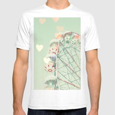 Ferris wheel nursery and heart bokeh on pale blue MEDIUM White Mens Fitted Tee