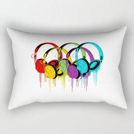 Colorful Headphones Rectangular Pillow