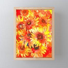 Blanket Flowers Bright Orange, Red, Yellow Flowers Framed Mini Art Print