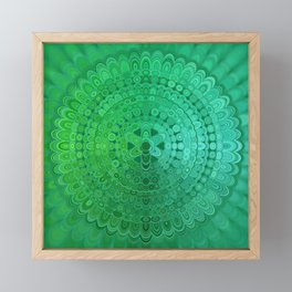Green Mandala Circle Framed Mini Art Print