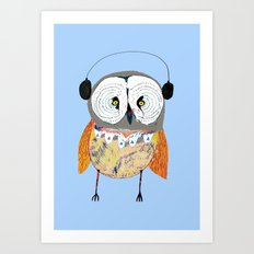 Owl with Headphones. Art Print