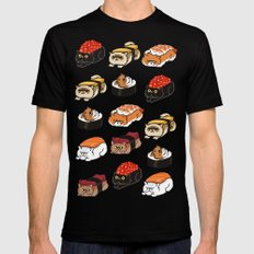 Sushi Persian Cat Black SMALL Mens Fitted Tee
