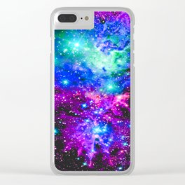 Fox Fur Nebula Galaxy Pink Purple Blue Clear iPhone Case
