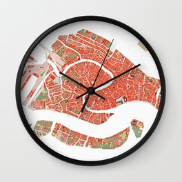 Venice city map classic Wall Clock