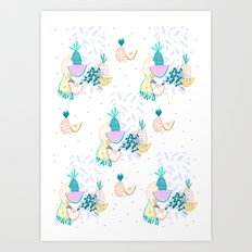 Fruiti tutti. Fruit, illustration, pattern, print, pineapple,  Art Print