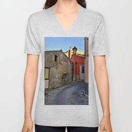 Medieval village of Sicily Unisex V-Neck