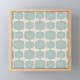 Mid Century Modern Atomic Rings Pattern Foam Green and beige 3 Framed Mini Art Print