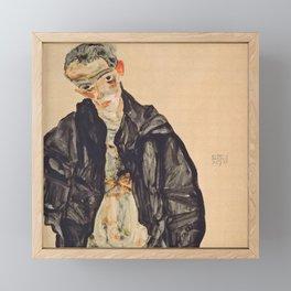 "Egon Schiele ""Selbstbildnis als Halbakt in schwarzer Jacke (Self-portrait in a black jack)"" Framed Mini Art Print"