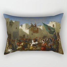"Eugène Delacroix ""The Fanatics of Tangier"" Rectangular Pillow"