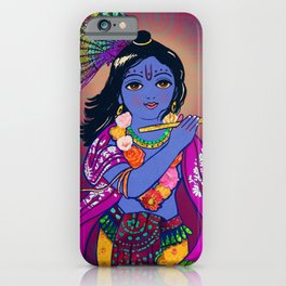 Little Krsna with Flute Colored iPhone Case