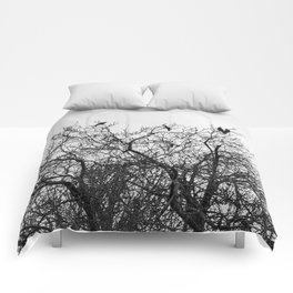 A murder of crows sitting in a tree Comforters