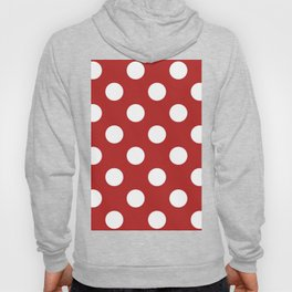 Large Polka Dots - White on Firebrick Red Hoody