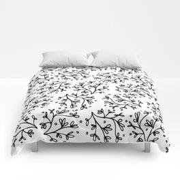 Modern hand drawn black white floral polka dots Comforters