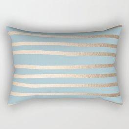 Abstract Drawn Stripes Gold Tropical Ocean Sea Blue Rectangular Pillow