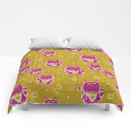Oriental happy lucky cats Comforters