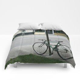 vintage city bike Comforters
