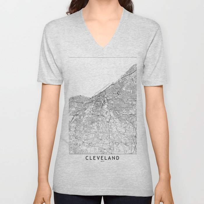 Cleveland White Map Unisex V-Neck