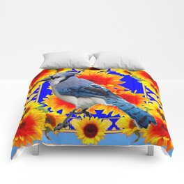 BLUE JAY & GOLDEN SUNFLOWERS WILDLIFE ART Comforters
