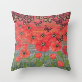 red sky, butterflies, poppies, & snails Throw Pillow