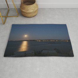 Moon light reflection Rockport Harbor Rug