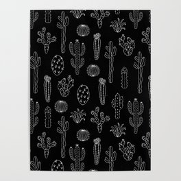 Cactus Silhouette White And Black Poster