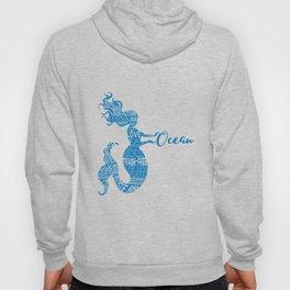 Save the Ocean Mermaid - Word Cloud Blue Hoody