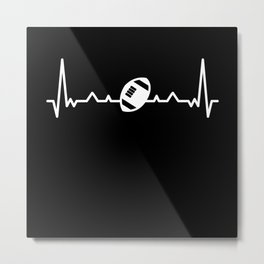 Funny Rugby Ball Heartbeat Line Gift Metal Print