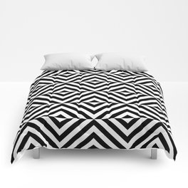 Black And White Geometric Square Seamless Pattern Comforters