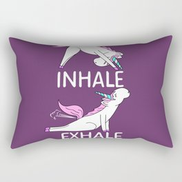 INHALE EXHALE Unicorn Yoga Funny Farting Fart Gift Fun Rectangular Pillow