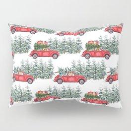 Corgis in car in winter forest Pillow Sham