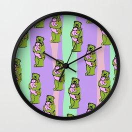 TEDDY BEAR DADDY TEDDY BEAR BABY PATTERN Wall Clock