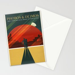 Travel Poster Phobos and Deimos (2015) Adventure awaits Explore Mars Ultimate Vacation Destinations Stationery Cards